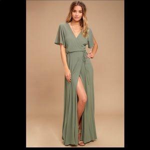 Lulus green maxi wrap dress size large